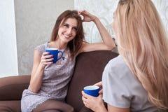 Dois amigos das mulheres que conversam no sofá em casa fotos de stock