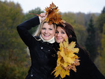 Dois amigos de menina bonitos com folhas do outono Fotos de Stock