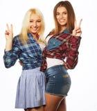 Dois amigos de moça que estão junto e que têm o divertimento Fotografia de Stock Royalty Free