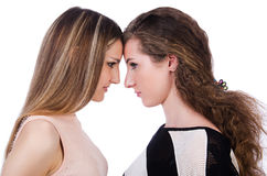 Dois amigos fêmeas isolados Imagem de Stock Royalty Free