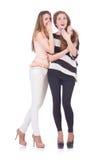 Dois amigos fêmeas isolados Fotos de Stock Royalty Free