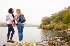 Dois amigos fêmeas que estão pela borda de um riso do lago Imagens de Stock Royalty Free