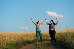 Dois amigos felizes das mulheres d?o uns cinco ap?s movimentar-se imagem de stock royalty free