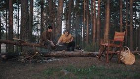 Dois amigos masculinos que sentam-se em madeiras do início de uma sessão, cozinhando o assado e a fala video estoque