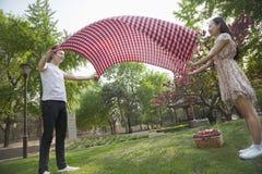 Dois amigos que abrem uma cobertura quadriculado e que preparam-se para ter um piquenique no parque Fotografia de Stock