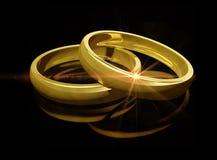 Dois anéis de casamento dourado Imagens de Stock Royalty Free