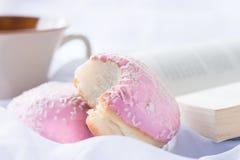 Dois anéis de espuma vitrificados cor-de-rosa com polvilham Imagem de Stock Royalty Free