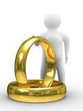 Dois anéis e homem de casamento do ouro ilustração stock