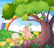 Dois animais selvagens perto da árvore com flores Foto de Stock