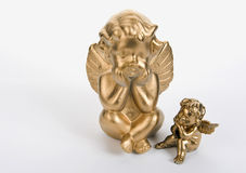 Dois anjos dourados Imagem de Stock Royalty Free