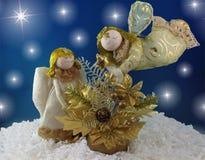Dois anjos dourados Fotografia de Stock