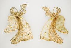Dois anjos dourados Foto de Stock Royalty Free