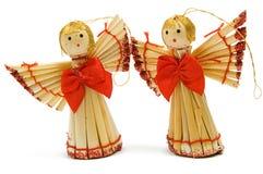 Dois anjos handmade da decoração do Natal Foto de Stock