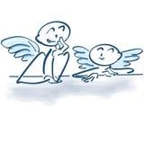Dois anjos pequenos como uma vara figuram ilustração do vetor