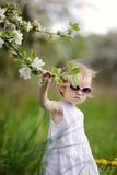 Dois anos de menina idosa da criança e árvore de florescência Fotos de Stock