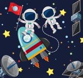 Dois astronautas que voam no espaço ilustração royalty free