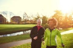 Dois atletas fêmeas que correm no parque ensolarado imagens de stock royalty free