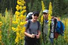 Dois backpakers e flores de florescência Imagem de Stock Royalty Free