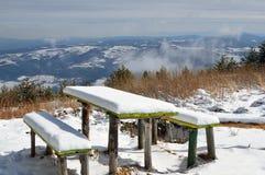 Dois bancos de madeira cobertos de neve e uma tabela na montanha Imagens de Stock