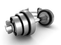 Dois barbells metálicos brilhantes pesados no fundo branco Fotografia de Stock Royalty Free