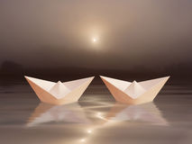 Dois barcos e pores do sol Fotografia de Stock Royalty Free