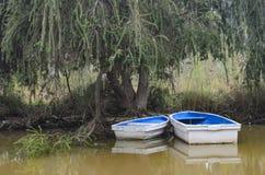 Dois barcos vazios em uma costa do lago Imagens de Stock Royalty Free