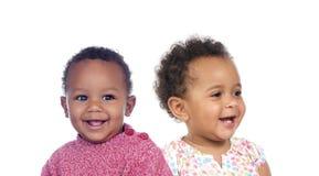 Dois bebês afro-americanos imagem de stock royalty free