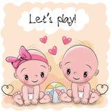 Dois bebês bonitos dos desenhos animados ilustração stock