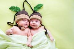 Dois bebês dos irmãos de gêmeos weared em chapéus da bolota Fotografia de Stock