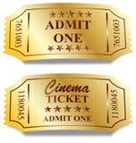 Dois bilhetes dourados Fotografia de Stock