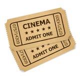 Dois bilhetes retros do cinema ilustração stock