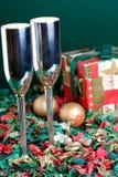 Dois bocals e presentes de feriado Fotografia de Stock