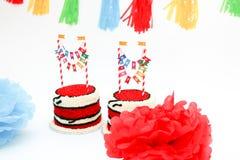 Dois bolos de aniversário para gêmeos Fotografia de Stock