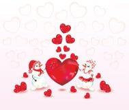 Dois boneco de neve e corações Imagem de Stock