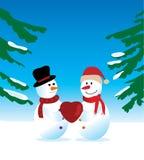 Dois bonecos de neve ilustração do vetor