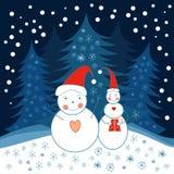Dois bonecos de neve Foto de Stock Royalty Free