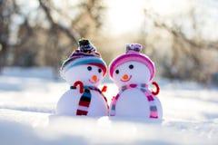 Dois bonecos de neve pequenos nos chapéus no parque Fotos de Stock