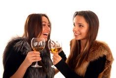 Dois bonitos e amigas de sorriso que comemoram Imagem de Stock