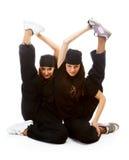 Dois breakdancers bonitos das meninas fotografia de stock