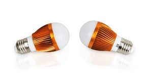 Dois bulbos da economia de energia do diodo emissor de luz Fotografia de Stock