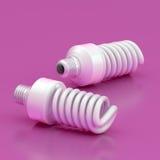 Dois bulbos de poupança de energia Fotos de Stock