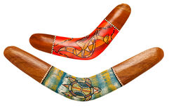 Dois Bumerangues de madeira Fotos de Stock Royalty Free