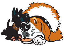 Dois cães dos desenhos animados Fotografia de Stock