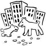 Dois cães na rua Ilustração Royalty Free