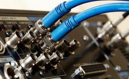 Dois cabos do SDI-vídeo de HD Imagens de Stock