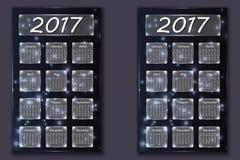 Dois calendários com ano abstrato do fundo do bokeh em 2017 Imagens de Stock