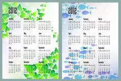 Dois calendários com folhas e mar Fotos de Stock