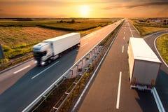 Dois caminhões na estrada no borrão de movimento Fotografia de Stock