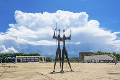 Dois Candangos Monument in Brasilia, Brazil Royalty Free Stock Photography
