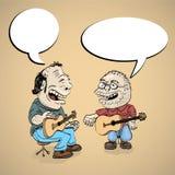 Dois cantores dos povos dos desenhos animados Fotografia de Stock Royalty Free